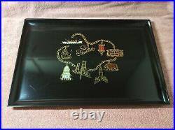 Vintage Couroc Monterey California Inlaid Tray San Francisco Charm Bracelet Bear