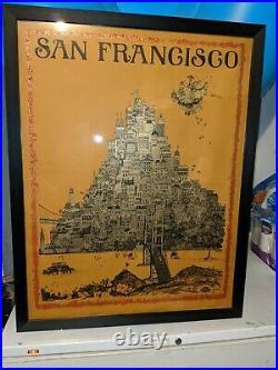 Vintage David Schiller Poster Framed San Francisco 1968 San Jose California