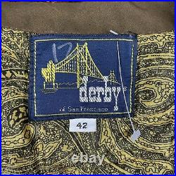 Vintage Derby of San Francisco Coco Brown Quilted Motif Lined Bomber Jacket 42