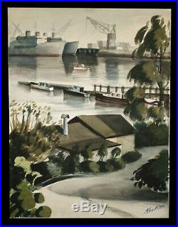 Vintage G. Kenneth Ken Potter California Watercolor Painting San Francisco Scene