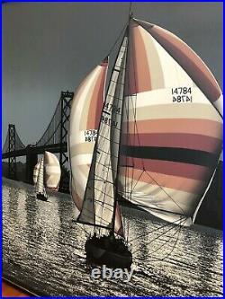 Vintage Letterman Mid-Century San Francisco Bridge Painting Sail Boat California
