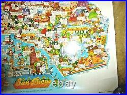 Vintage Lovely Cartoon Map California San Diego La San Francisco By Martin