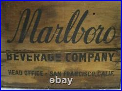 Vintage Marlboro Beverage Company San Francisco California Wood Crate Antique