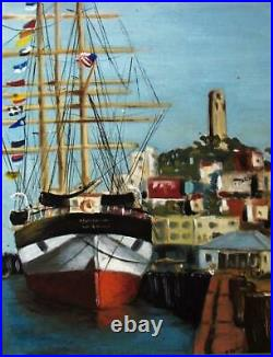 Vintage Painting San Francisco's Coit Tower And Tall Sailing Ship Signed P Paul