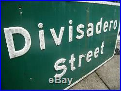 Vintage Sign DIVISADERO STREET San Francisco STATE OF CALIFORNIA Huge 60 X 30