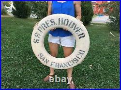 Vtg Life Preserver Ring Raft Antique Old SS Hoover San Francisco CA California