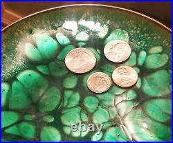 WIN NG san francisco arts & crafts copper enamel coin dish vtg calif mcm plate