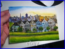 Watercolor Painting California San Francisco House Nature 5x7 Art